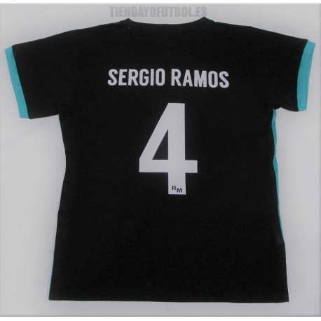 "Camiseta ""Sergio Ramos"" Jr. Real Madrid CF negra 2017/18 RM"