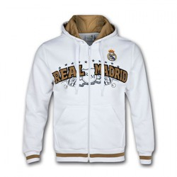 Sudadera blanca Real Madrid con capucha y cremallera