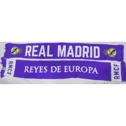 "Bufanda doble Real Madrid ""REYES de EUROPA""morada"