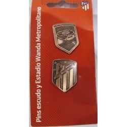 Pack Pin oficial Atletico de Madrid Escudo y Wanda