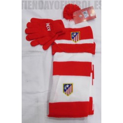 Bufanda gorro  y guantes rojo y blanco Atlético de Madrid