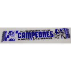 """Bufanda CHAMPIÓN R.MADRID"""" CAMPEONES EUROPA 2018-KIEV RESULTADO"""