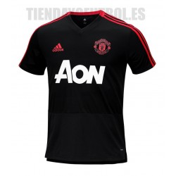 Camiseta Oficial entrenamiento Jr. negra Manchester United 2018/19 Adidas