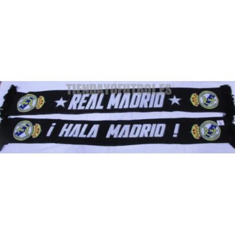 Bufanda oficial doble Real Madrid negra con estrellas HALA MADRID