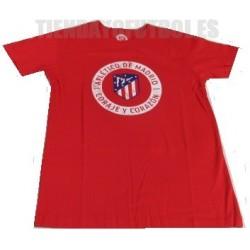 """Camiseta oficial Paseo Algodón roja Atlético de Madrid """" CORAJE Y CORAZON"""""""
