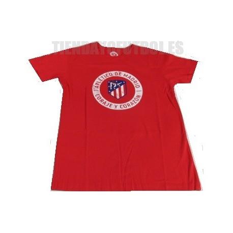 """Camiseta oficial Algodón roja Atlético de Madrid """" CORAJE Y CORAZON"""""""