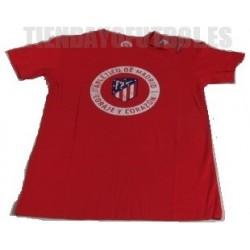 """Camiseta Jr. oficial paseo Algodón roja Atlético de Madrid """" CORAJE Y CORAZON"""""""