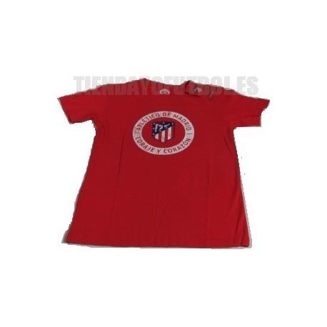 """Camiseta Jr. oficial Algodón roja Atlético de Madrid """" CORAJE Y CORAZON"""""""