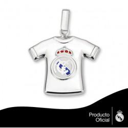 Colgante camiseta plata Real Madrid CF.
